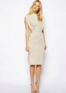 Светло-серое платье средней длины из полиэстера