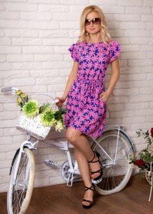 Короткое розово-синее платье из штапеля