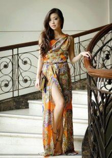 Длинное цветное платье из штапеля