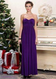 Длинное сиреневое платье в стиле ампир из вискозы