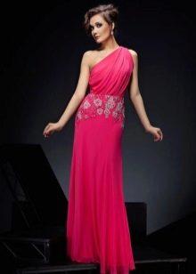 Длинное розовое платье из вискозы