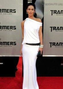 Белое длинное платье из вискозы