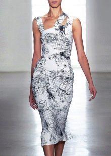 Платье миди из вискозы с асимметричным верхом