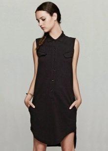 Платье-поло на пуговицах с асимметричным низом