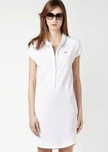 Белое платье-поло на пуговицах до пупа