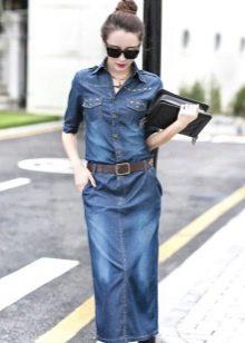 Длинное джинсовое платье-поло