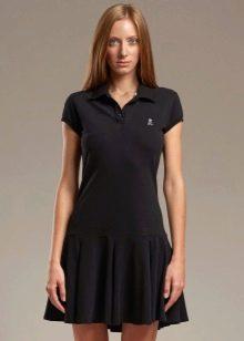 Черное платье-поло с юбкой