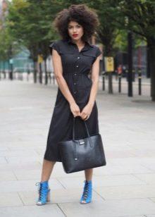 Приталенное платье-рубашка на резинке