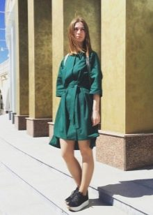 37363284564 Зеленое свободного кроя платье-рубашка