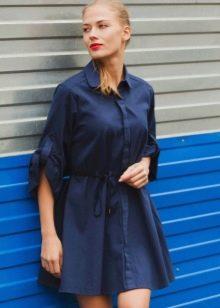 Шелковое синее платье-рубашка