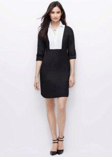 Черное белое платье-рубашка