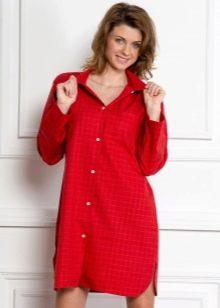 Красное домашнее платье-рубашка