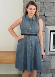 Домашнее серое платье-рубашка