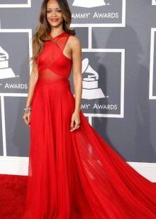 Красное шифоновое платье с американской проймой