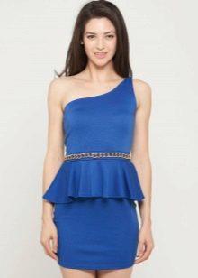 Синее платье с баской, с бретелей на одно плечо
