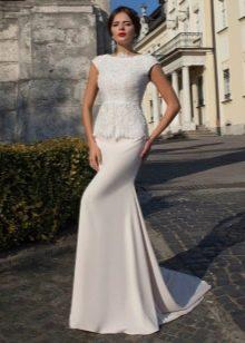 Свадебное платье с кружевным топом и баской