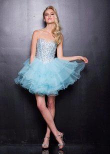 Короткое голубое платье с корсетом