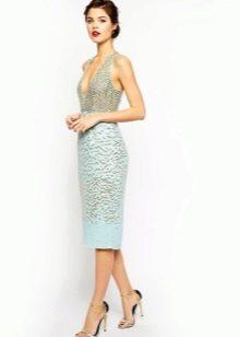 Светло-бирюзовое  платье с корсетом длины миди