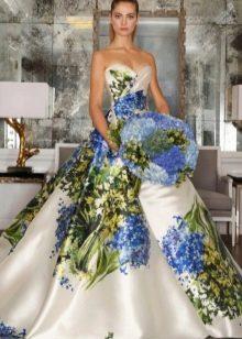 Модное разноцветное платье с корсетом