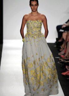 Длинное цветное платье с корсетом