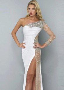 Длинное нарядное платье с одним рукавом