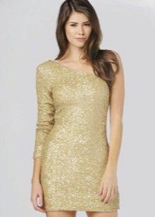Короткое нарядное золотое платье с одним рукавом