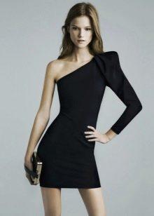 Платье с одним длинным рукавом фонариком