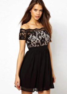 Платье с рукавом реглан и вырезом анжелика