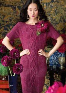 Вязаное платье бордового цвета с рукавом реглан