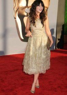 Платье средней длины с юбкой полусолнце