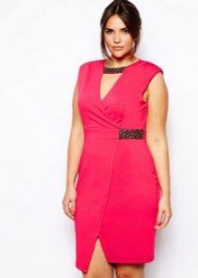 4fd614cf2d1 Розовое платье с запахом средней длины для полных