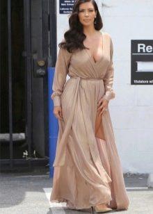 Длинное шифоновое платье с запахом для полных
