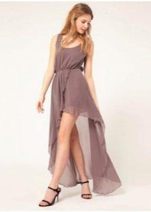 Коричневое летнее платье со шлейфом
