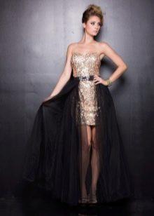 Короткое золото-черное платье со шлейфом