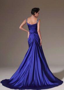 Синее платье со шлейфом - вид сзади
