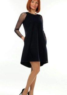Черное платье трапеция с длинным рукавом