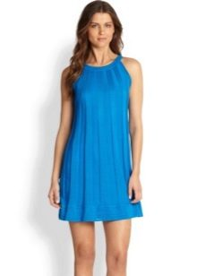 Синее платье трапеция