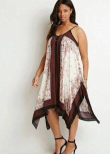 Платье-сарафан фасона трапеция для полных