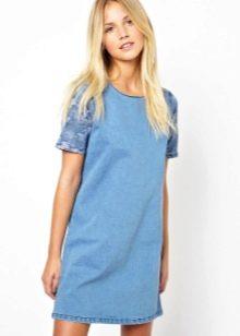 Платье-туника голубое