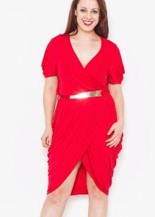 Красное платье тюльпан для полных