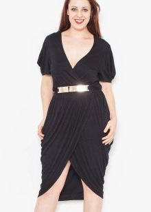 Черное платье тюльпан для полных