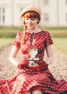 dd258c2626f Красное платье в белый горошек в ретро стиле