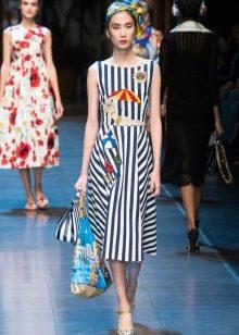 Платье средней длины в морском стиле