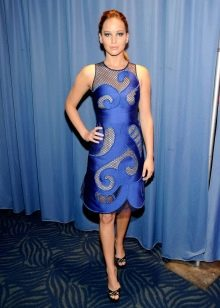 Синее платье-сетка