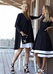 Темно синее платье в морском стиле