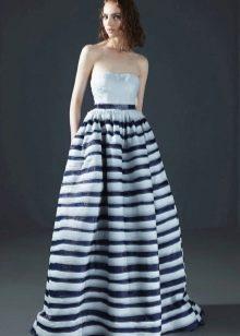 Платье в полоску в пол пышное