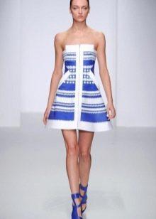 Белое платье в стинюю полоску морское