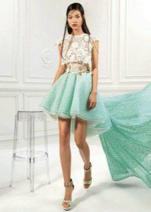 Платье с бирюзовой юбкой