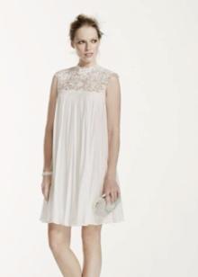 Короткое свадебное платье с кружевом в стиле Одри Хепберн