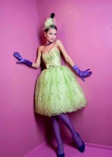 Платье на выпускной в стиле стиляг салатневое